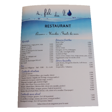 Menu restaurant plastifié