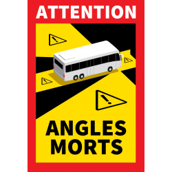 Autocollant Attention Angles morts pour BUS