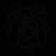 Sticker d'une tête de buldog de face pas content